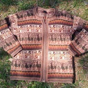 Vintage Alpaca Wool Aztec Zip Cardigan Sweater